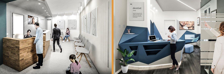 Le aree extracliniche: reception e sala d'attesa dello studio dentistico